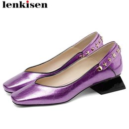Wholesale Lenkisen natural leather low heels slip on metal rivets decoration classic square toe shallow women pumps plus size shoes L25