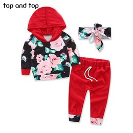 Hooded Headband Australia - Top and Top Baby Girls Clothing Sets 2017 Winter Floral Hooded Tops Pants Headband 3PCS Baby Girls outfits Set Newborn Clothes Y190515