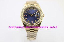 $enCountryForm.capitalKeyWord Australia - Luxury Wristwatch Superlative Chronome Wristwatch Full Yellow Gold Belt Blue Face With Calendar Folding Clasp Men Watch