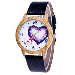 1e7ee33de89 Fashion mens women lovers couple love heart leather watch wholesale 2019  unisex students Wood grain dress quartz wrist watches