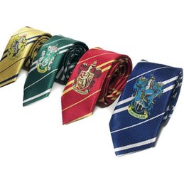 harry potter tie ravenclaw Canada - Harry Potter Tie Striped Necktie Gryffindor Slytherin Hufflepuff Ravenclaw badge Necktie ties Cosplay Costumes accessories KKA7869