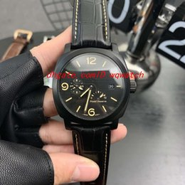 Pin Glasses Australia - 2019 men's top watch automatic mechanical movement 316 stainless steel case mineral tempered glass real cowhide strap pin buckle 44 mm black