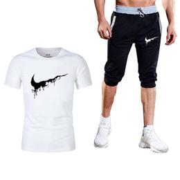 Suit T Shirt Short Australia - Tracksuit Men Shorts Summer Brand T shirt Men Letter Printed Sportsuit Set 2019 Fashion Suit Male Famous Brand Top Shirt