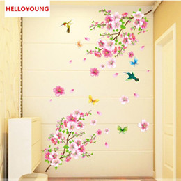 $enCountryForm.capitalKeyWord Australia - DIY Wall Sticker Butterfly Love Peach Blossom Wallpapers Art Mural Waterproof Bedroom Wall Stickers Home Decor Backdrop