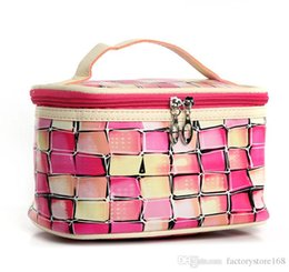 Patchwork Plaid Handbags NZ - Stylish colorful plaid patchwork cosmetic bags online PU wash bag handbag makeup bag for girls ladies