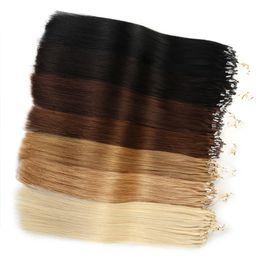 Mikro Döngü Linkler Saç Uzatma Nano Halkalar% 100 24inch için Remy İnsan Saç 100s 50g Bleach Blonde # 613 İpeksi Düz Siyah Brwon 14
