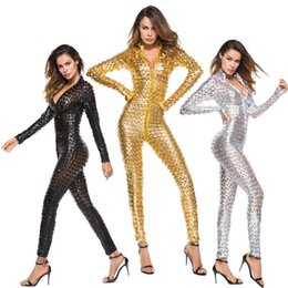 Female Cat Woman Costume Australia - Sexy Faux Leather Hole Catsuit PVC Erotic Night Club Jumpsuit Hollow Out Cosplay Pole Dance Theme Costume