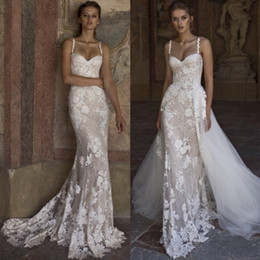 $enCountryForm.capitalKeyWord Australia - Amazing Overskirt Mermaid Lace Wedding Dresses With Tulle Detachable Train Sequined Bridal Gowns Appliqued Trumpet Plus Size robe de mariée