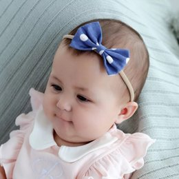 Headbands Bow Australia - NEW Free DHL Multiple Designing Baby Hair Accessories Newborn Girls Hair Bows High Elastic Linen Cotton Strips Hairbandst Infant Headbands