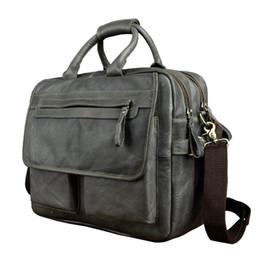 """Antique Zippers Australia - Men Real Leather Antique Style Large Capacity Briefcase Business 15.6"""" Laptop Cases Attache Messenger Bags Portfolio 8951g #363295"""