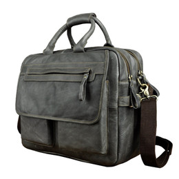 "real laptops 2019 - Men Real Leather Antique Style Large Capacity Briefcase Business 15.6"" Laptop Cases Attache Messenger Bags Portfoli"