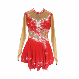 Ice Figures UK - BHZW Figure Skating Dress Women's Girl's Ice Skating Dress Spandex Red