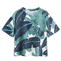 Cropped Tees UK - MUQGEW Female T-shirts For Women O-Neck Short Sleeve Leaf Print Loose Tee Top Crop Pullover camisetas verano mujer 2019 #6030
