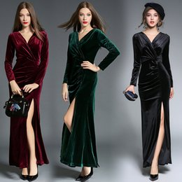 Wholesale Velvet Long Wine Red Evening Dresses Cheap Prom Dress Hot Sale Sexy V Neck Split Elegant Turquoise Formal Evening Homecoming Gowns