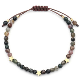 Discount 4mm bead size - Natural Stone Beads Bracelet Women Handmade 4mm Crystal With Star Bracelets&Bangles Size Adjustable Accessories