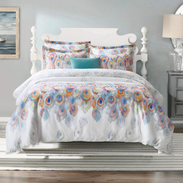 peacock print bedding Australia - Cotton 3 Pieces Duvet Cover Set Bedding Set Peacock Printing Queen Size