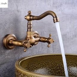 antique brass kitchen taps Australia - Antique Brass 360Rotation Kitchen Sink Faucet Torneira Wall Mounted Crane Double Handle Bathroom Basin Mixer Tap Cold And Hot