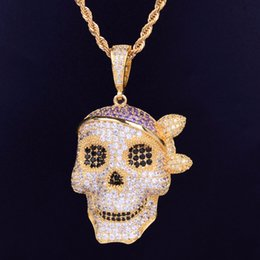 $enCountryForm.capitalKeyWord Australia - Men Skull Pendant Necklace Personality Chain Gold Silver Iced Out Cubic Zirconia Hip hop Rock Jewelry