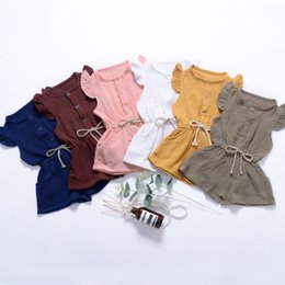 Rowing Clothes Australia - 2019 kids clothes Summer children's wear small flying sleeves jumpsuit shorts one with solid color open a row of button children's clothing