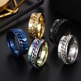 $enCountryForm.capitalKeyWord UK - European and American personality Roman Numerals Rotatable Ring Stainless Steel Spin Chain Ring Band Rings Fashion Jewelry For Men Women