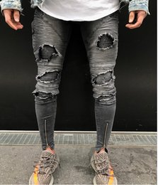 slim tapered jeans NZ - Men's Ripped Destroyed Stretchy Knee Holes Slim Tapered Leg Jeans Denim Pants