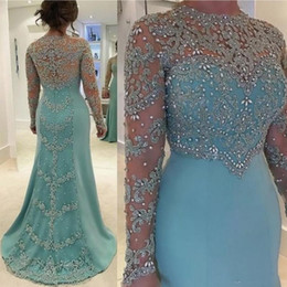 appliqued mother bride dress 2021 - 2019 Mint Green Vintage Mermaid Mother Of The Bride Dresses Long Sleeve Beads Crystal Lace Appliqued Plus Size Evening Gowns for Women