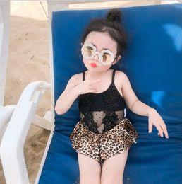 $enCountryForm.capitalKeyWord NZ - Summer Baby Girls swimsuit sexy Kids Black Lace Splicing Leopard Ruffle Dress bathing suit Children Bikinis One-piece Swimwear Y2644
