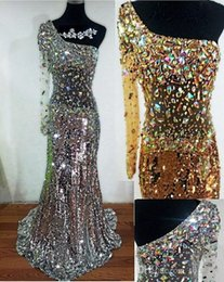 Good eveninG dresses online shopping - 2019 New Hot Mermaid Evening Dresses Delicate Crystal Sequins One Shoulder Sweep Train Long Sleeve Good Quality Tulle vestido de noiva
