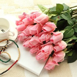 Fresh White Rose Flowers Australia - Decorations Artificial Dried Free Shipping Fresh rose Artificial Flowers Real Touch rose Flowers, Home decorations for Wedding Party or ...
