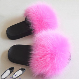 Discount types women slipper - Women's Slippers Shoes One-line type Fox Hair Slippers Women Fur Home Fluffy Plush Furry Summer 1-3 cm Flats Sweet