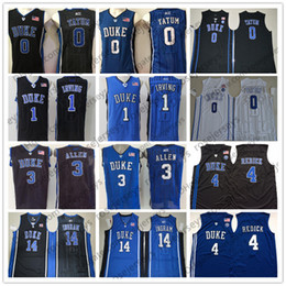 b2968e5b9b1 NCAA Duke Blue Devils #3 Allen 4 Redick 0 Tatum 14 Ingram 1 Irving Grayson  JJ Jayson Brandon Kyrie royal white black Jerseys