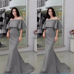 $enCountryForm.capitalKeyWord Australia - 2019 Gray Half Sleeves Evening Gowns Sexy Off Shoulder Satin Mermaid Prom Dresses Satin Sweep Train Formal Party Dress Custom Made
