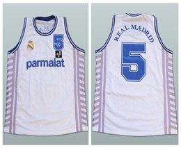 4c50827c6 Drazen Petrovic  5 Parmalat Real Madrid White Retro Basketball Jerseys Mens  Stitched Custom Any Number Name