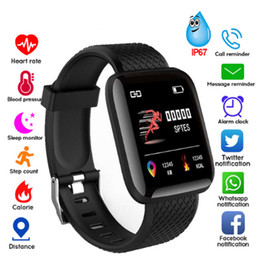 Kids waterproof tracKing watch online shopping - 116 PLUS Smart Bracelet Color Screen Heart Rate wristband Blood Pressure Monitoring Track Movement Waterproof Smart Watch Pk Mi Band