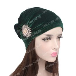 $enCountryForm.capitalKeyWord Australia - New fashion luxury women velvet turban ruffle Hair Wrap beanie cap with pearled brooch Hijab Turbante hair accessories