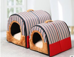 warm winter bedding 2019 - Stripe Pattern Dog kennel Winter Warm Dog Cat House Detachable Washable Pet Nest Lovely Puppy Kitten Bed cheap warm wint