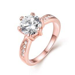 Jewelry Mosaic Sets Australia - Luxury Solitaire Rings Rose Gold Plated Geometric Pattern Prong Setting Mosaic Rhinestone Flat Ring Classic Jewelry Propose Gifts POTALA023