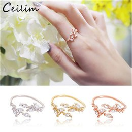 $enCountryForm.capitalKeyWord Canada - Fashion Korean Zircon Leaves Adjustable Rings Gold Rose Gold Color Open Finger Ring Wedding Rings Wholesale For Women Girls Jewelry Party