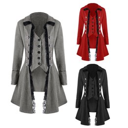 tailcoats costumes Australia - Women Gothic Lapel Jacket Victorian Punk Lace Decoration Button Coat Retro Medieval Long Sleeve Tailcoat costume Anime