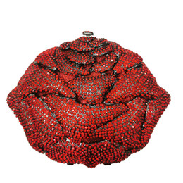 red rose clutch bags Australia - Women Rhinestone Clutches Small Party Bag Rose Shape Clutches Wedding Handbag Bridall Purse Floral Crystal Evening Bag