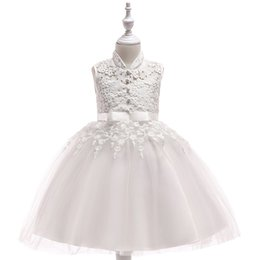Ankle Length High Neck Wedding Dresses UK - 2019 Whit Lace Flower Girl Dresses for Wedding A Line Pageant Dress With Belt First Communion Dresses Custom High Neck Girls Pageant Gowns