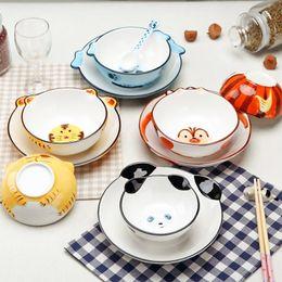 $enCountryForm.capitalKeyWord Australia - 1 Set Forest Relief Handpainted Ceramic Dinnerware Set Porcelain Animals Tableware Set Plate Bowls For Kids Children Y19061901