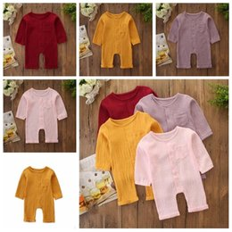 girls bubble rompers 2020 - Kids Clothes Boy Girls Rompers Baby Long Sleeve Pants Onesies Infant Bubble Cotton Jumpsuits Child Button Solid Color Pl