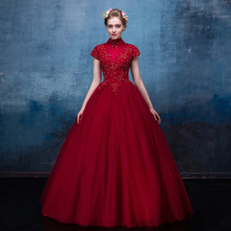 $enCountryForm.capitalKeyWord UK - 2019 Dark Red Gothic Wedding Dresses With Cap Sleeves High Neck A-line Floor Length Beaded lace Tulle Corset Back Non White Bridal Gowns