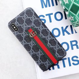 Chinese  Fashion Luxury Designer Phone Case for Iphone X XS XR Xs Max 6 6plus 7 7plus 8 8 Plus Cloth Strips Metal Logo Decorate Leather Case manufacturers