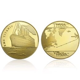 wish coin UK - GLSY Hot Selling Voyage Of Titanic Commemorative Coins Golden RMS Wish Souvenir Coin Diameter 40mm Metal Gold-Plating By DHL