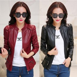 Wholesale Zogaa Autumn Women s Short Leather Jackets Motor PU Coats Solid Casual Jackets Slim Fit Stand Collar High Street Wear Women