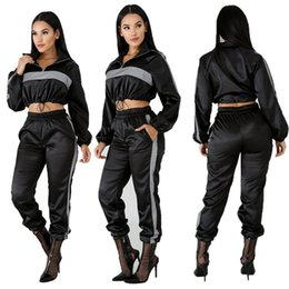 Wholesale black sweat outfit for sale - Group buy 2019 Reflective Tracksuit Two Piece Set Women Clothes Black Crop Top Pants Sweat Suit Sexy Club Outfits Matching Sets