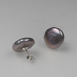 studs 15mm NZ - 15mm Purple Coin Keshi Baroque 925 Silver Stud Earring