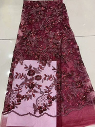 $enCountryForm.capitalKeyWord Australia - African Lace Fabric 2019 High Quality wine red Color French Net Embroidery Sequins Lace Fabrics For Nigeria Party Dress rf7-6